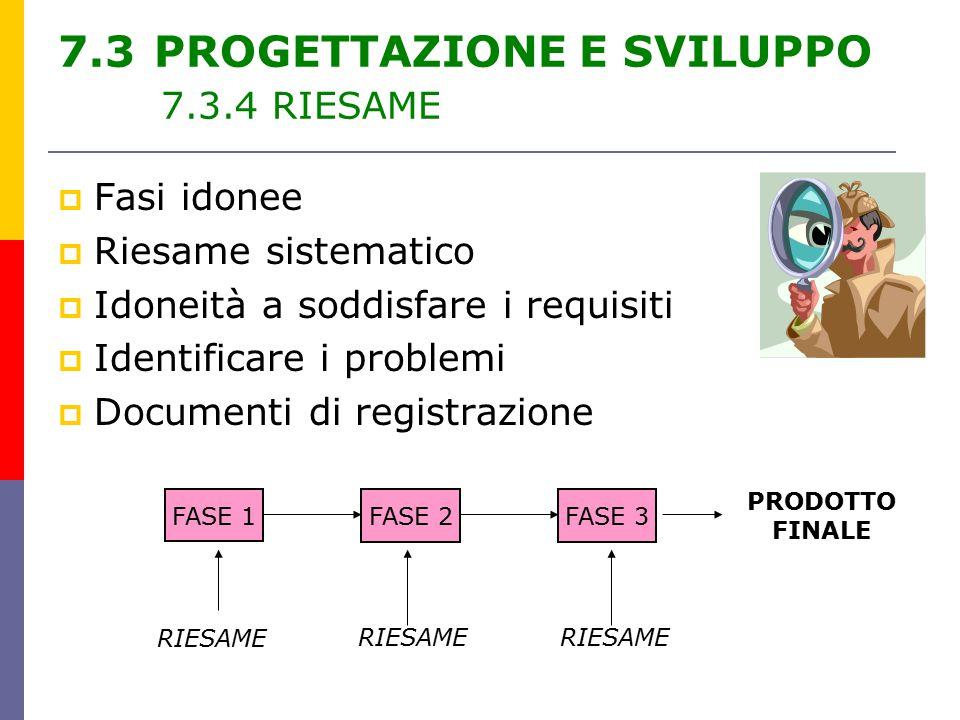 7.3 PROGETTAZIONE E SVILUPPO 7.3.4 RIESAME