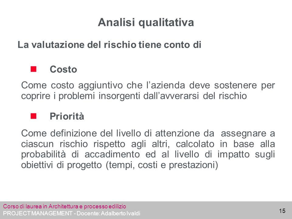 Analisi qualitativa La valutazione del rischio tiene conto di Costo