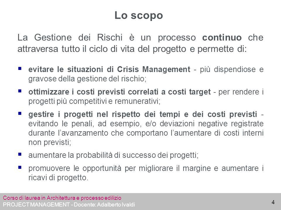 Lo scopo La Gestione dei Rischi è un processo continuo che attraversa tutto il ciclo di vita del progetto e permette di: