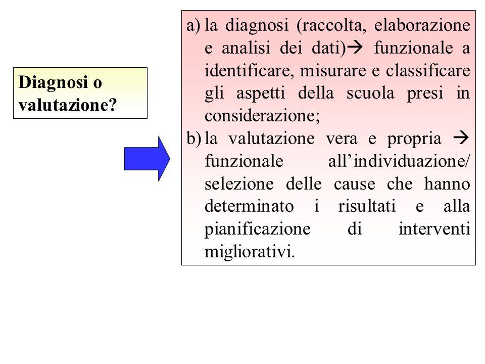 la diagnosi (raccolta, elaborazione e analisi dei dati) funzionale a identificare, misurare e classificare gli aspetti della scuola presi in considerazione;