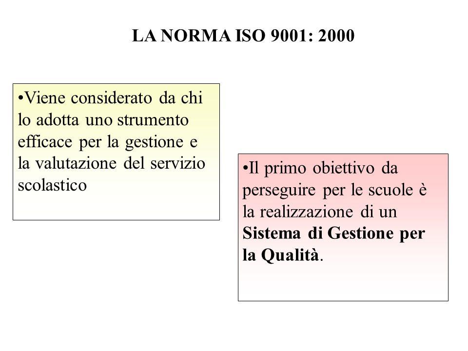LA NORMA ISO 9001: 2000 Viene considerato da chi lo adotta uno strumento efficace per la gestione e la valutazione del servizio scolastico.