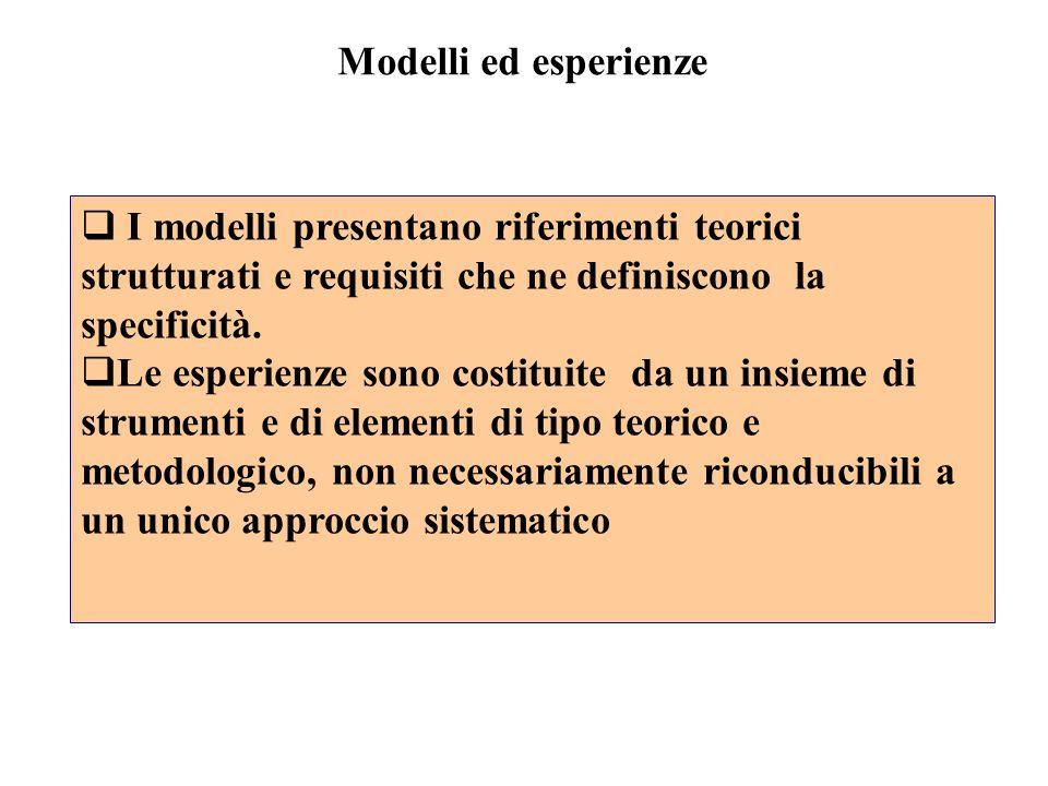 Modelli ed esperienze I modelli presentano riferimenti teorici strutturati e requisiti che ne definiscono la specificità.