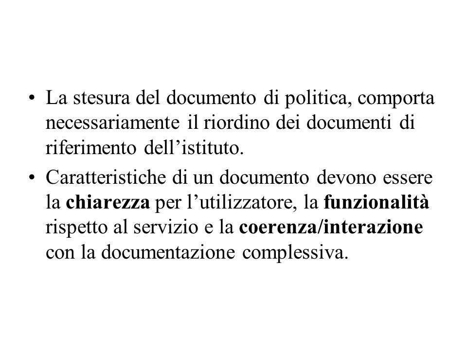 La stesura del documento di politica, comporta necessariamente il riordino dei documenti di riferimento dell'istituto.