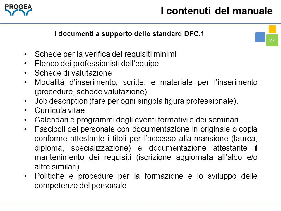 I documenti a supporto dello standard DFC.1