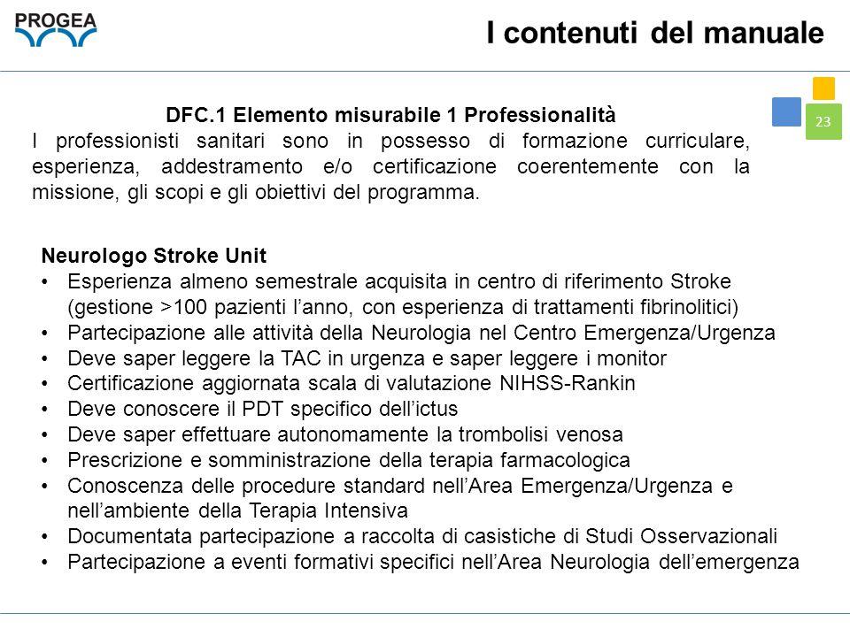 DFC.1 Elemento misurabile 1 Professionalità