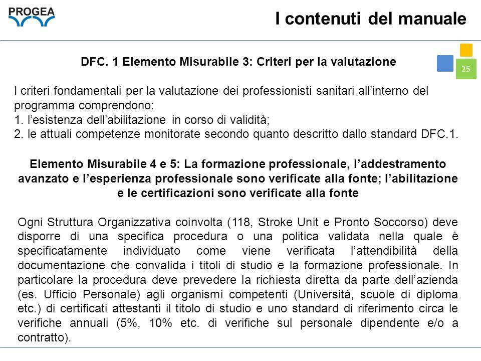 DFC. 1 Elemento Misurabile 3: Criteri per la valutazione