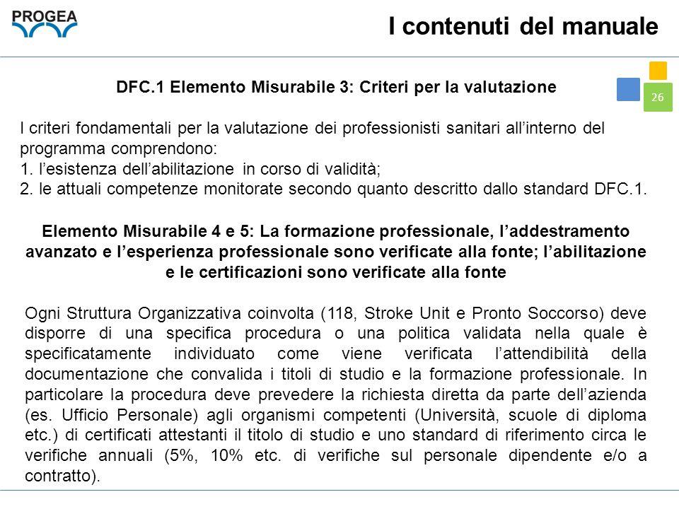 DFC.1 Elemento Misurabile 3: Criteri per la valutazione