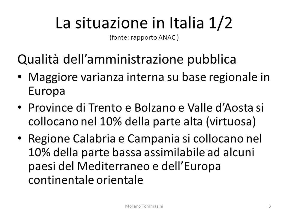 La situazione in Italia 1/2 (fonte: rapporto ANAC )