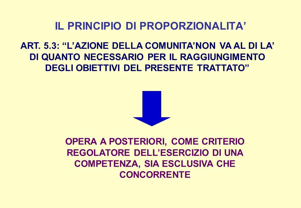 IL PRINCIPIO DI PROPORZIONALITA'