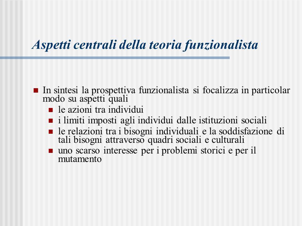 Aspetti centrali della teoria funzionalista