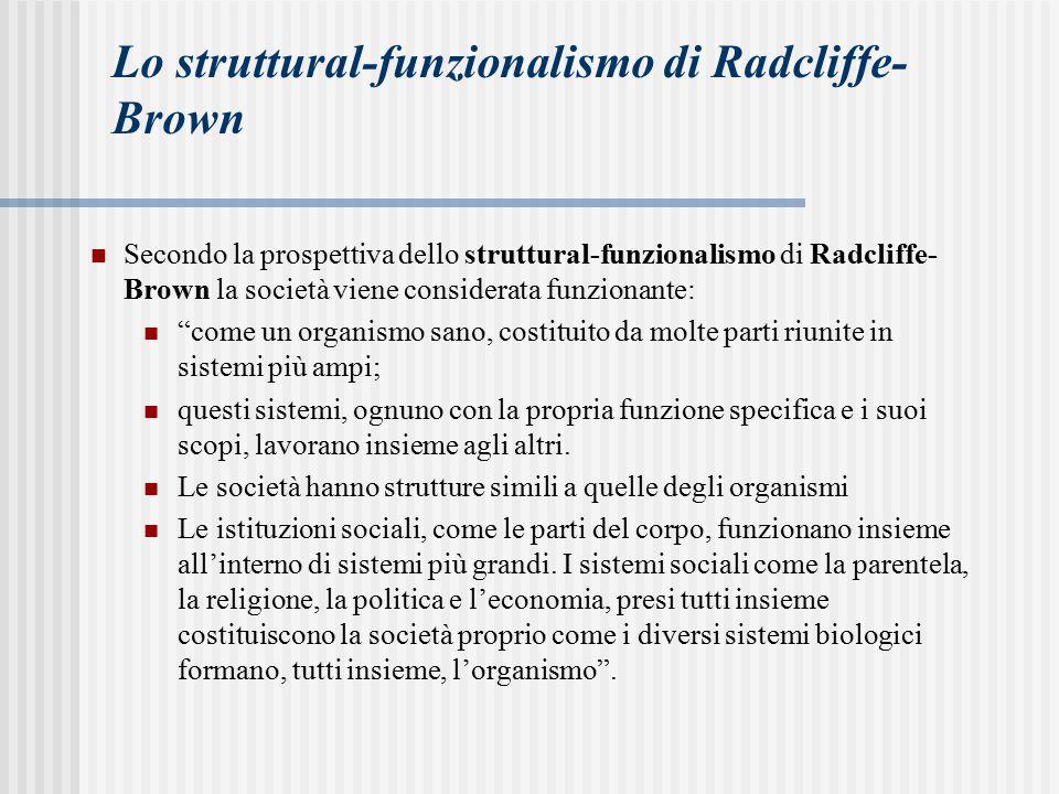 Lo struttural-funzionalismo di Radcliffe-Brown