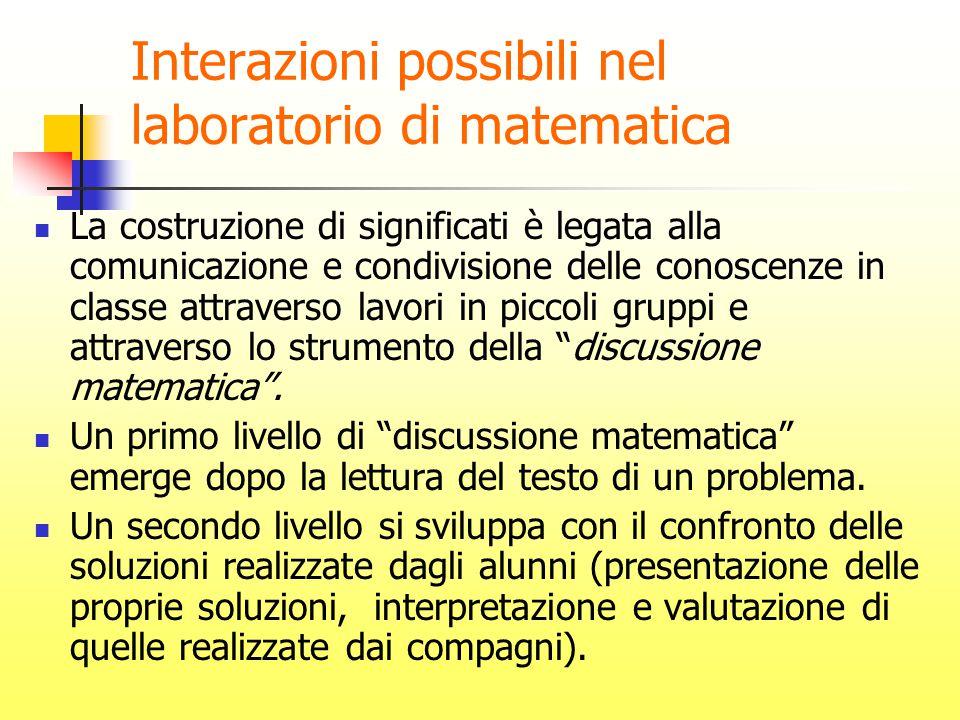Interazioni possibili nel laboratorio di matematica