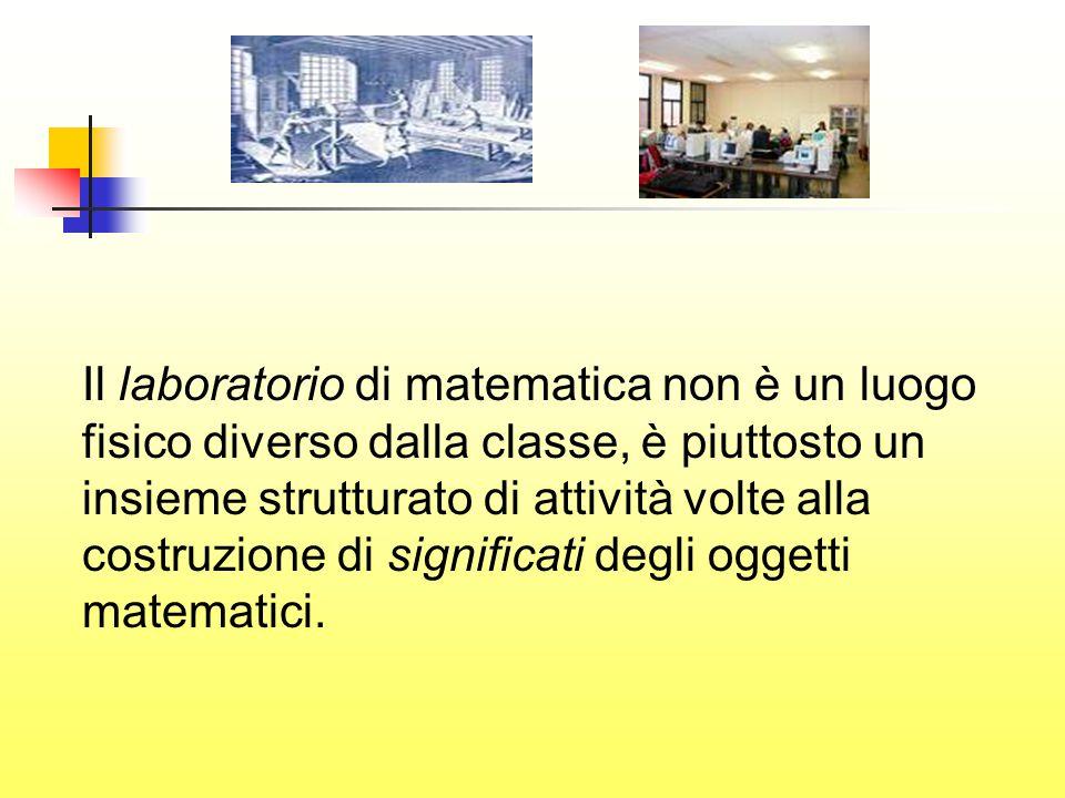 Il laboratorio di matematica non è un luogo fisico diverso dalla classe, è piuttosto un