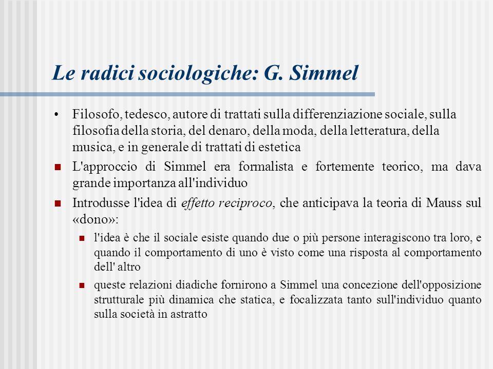 Le radici sociologiche: G. Simmel