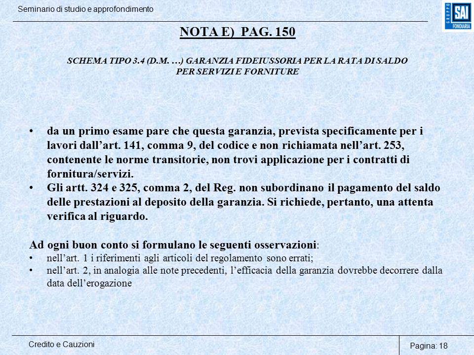 NOTA E) PAG. 150 SCHEMA TIPO 3. 4 (D. M