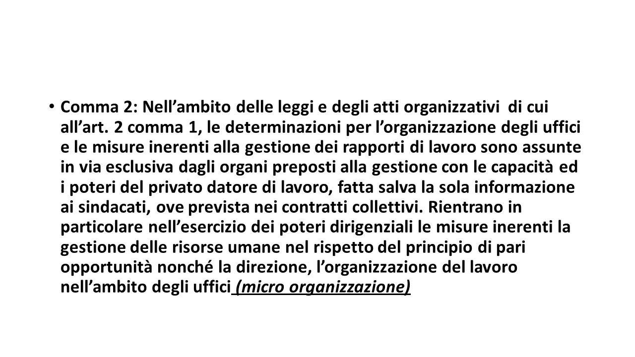 Comma 2: Nell'ambito delle leggi e degli atti organizzativi di cui all'art.