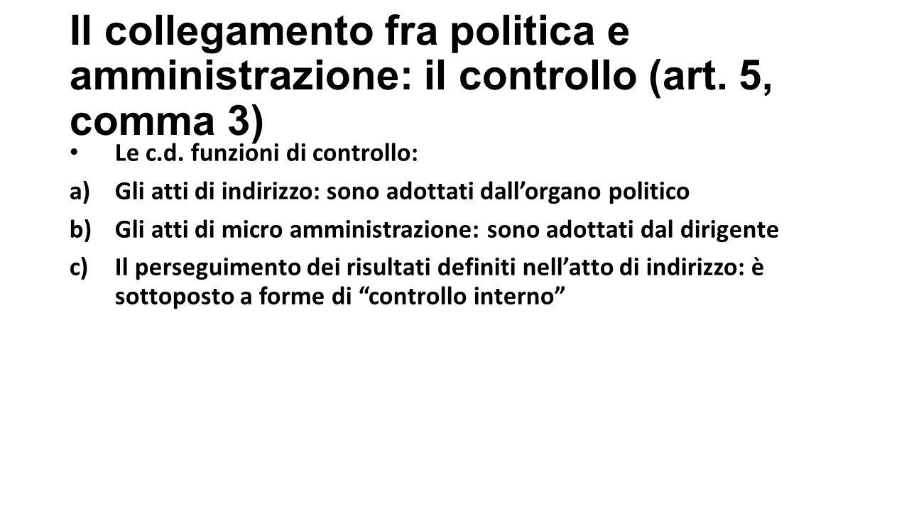 Il collegamento fra politica e amministrazione: il controllo (art