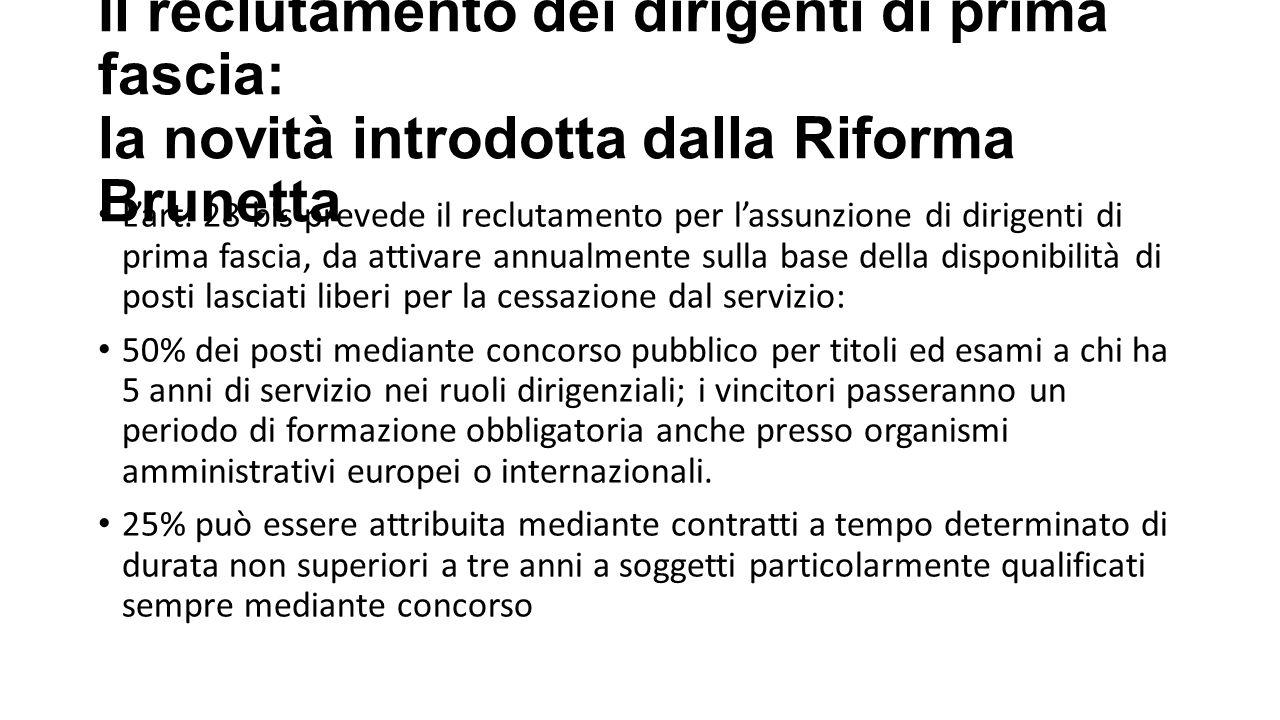 Il reclutamento dei dirigenti di prima fascia: la novità introdotta dalla Riforma Brunetta