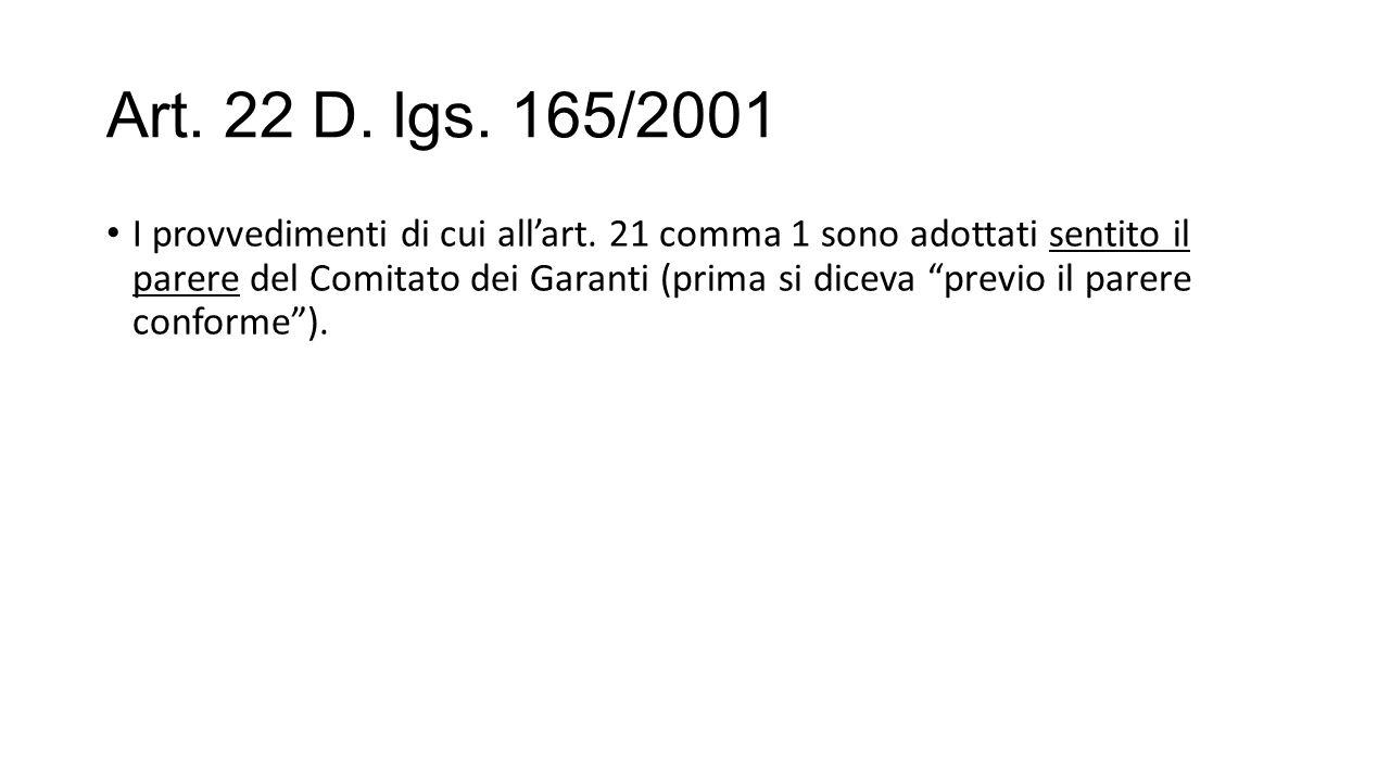 Art. 22 D. lgs. 165/2001