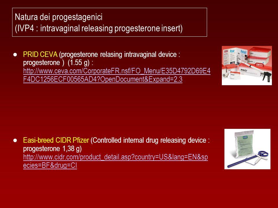 Natura dei progestagenici (IVP4 : intravaginal releasing progesterone insert)