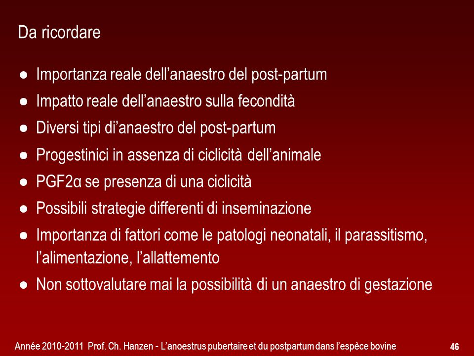 Da ricordare Importanza reale dell'anaestro del post-partum