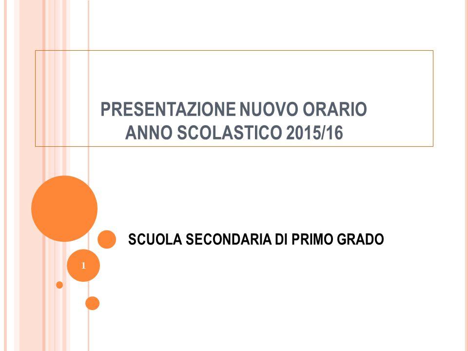 PRESENTAZIONE NUOVO ORARIO ANNO SCOLASTICO 2015/16