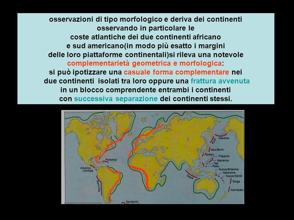 osservazioni di tipo morfologico e deriva dei continenti