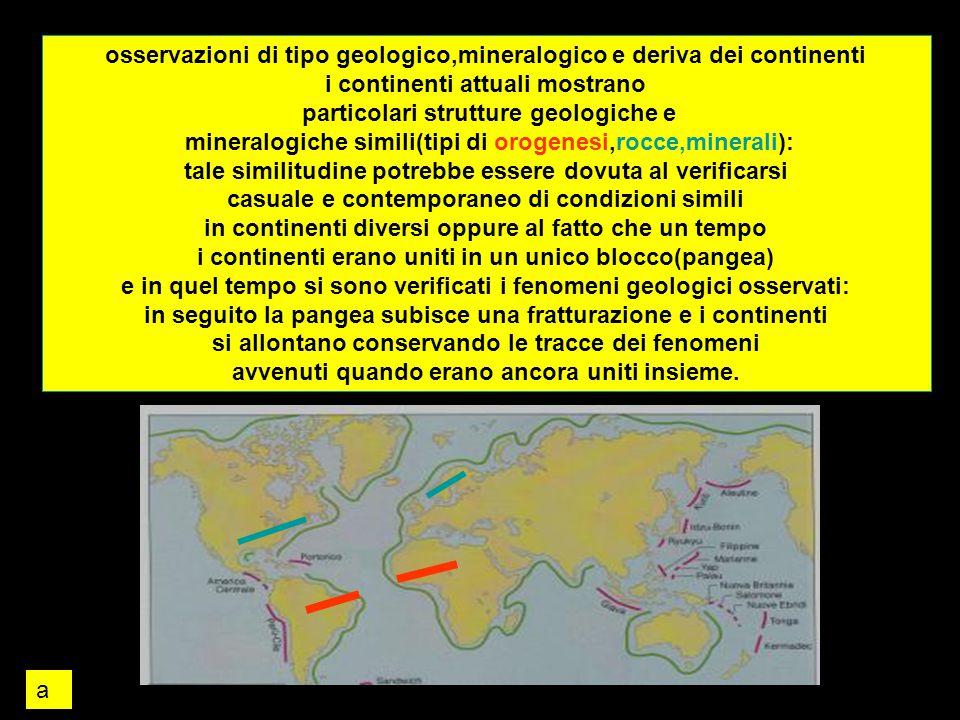 osservazioni di tipo geologico,mineralogico e deriva dei continenti
