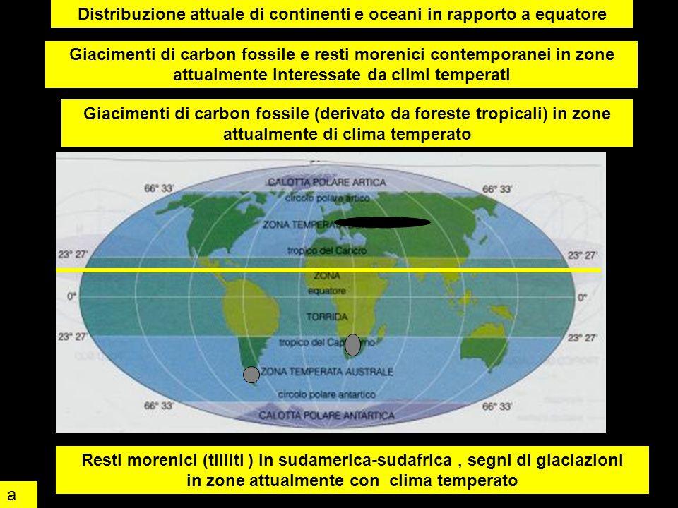 Distribuzione attuale di continenti e oceani in rapporto a equatore