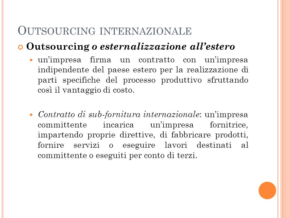 Outsourcing internazionale