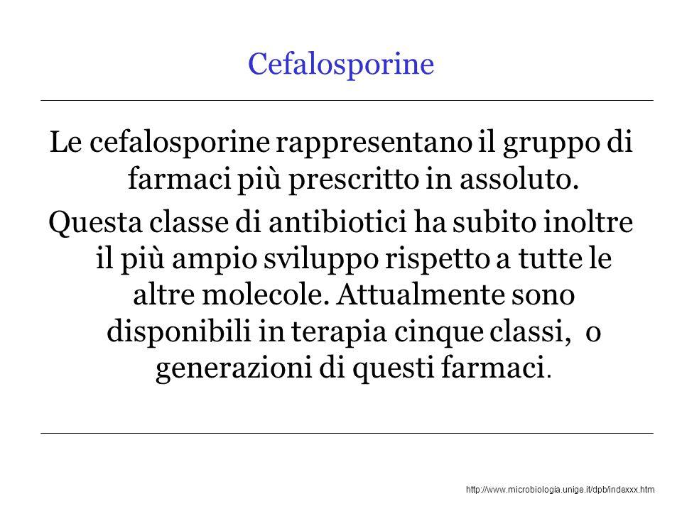 Cefalosporine Le cefalosporine rappresentano il gruppo di farmaci più prescritto in assoluto.