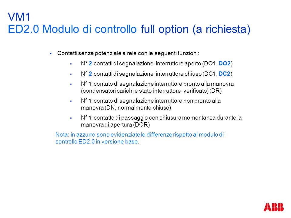 VM1 ED2.0 Modulo di controllo full option (a richiesta)
