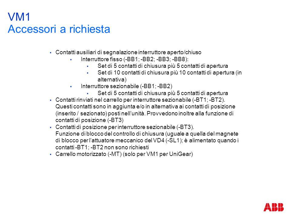 VM1 Accessori a richiesta