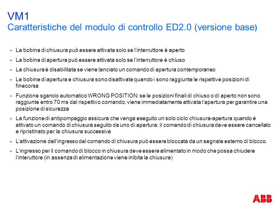 VM1 Caratteristiche del modulo di controllo ED2.0 (versione base)