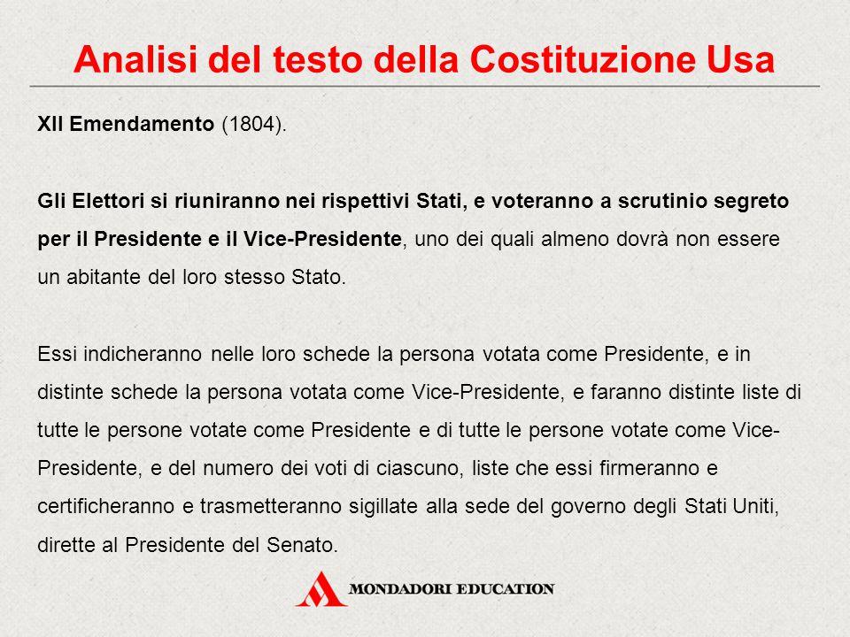 Analisi del testo della Costituzione Usa