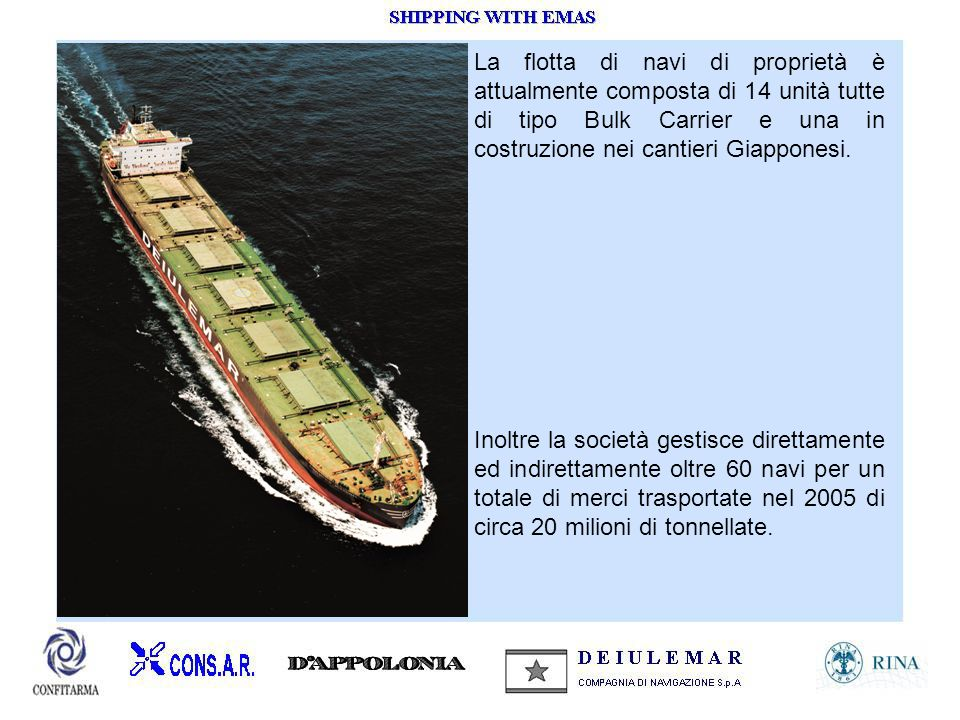 La flotta di navi di proprietà è attualmente composta di 14 unità tutte di tipo Bulk Carrier e una in costruzione nei cantieri Giapponesi.