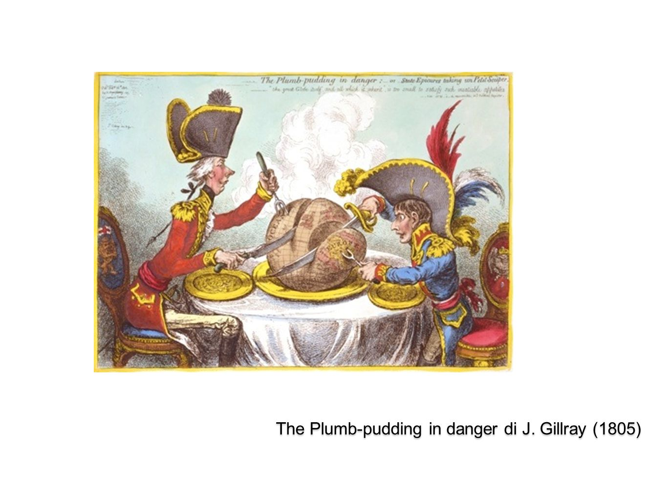 The Plumb-pudding in danger di J. Gillray (1805)