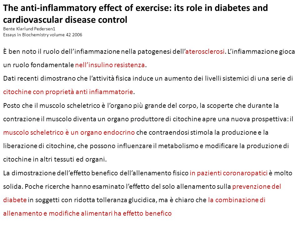 The anti-inflammatory effect of exercise: its role in diabetes and cardiovascular disease control