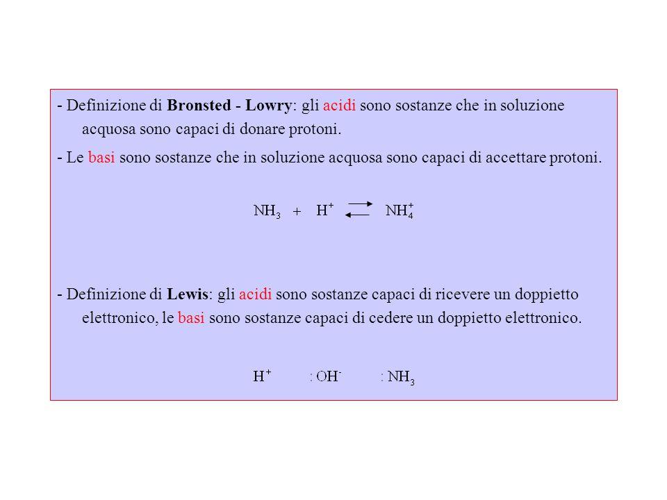 - Definizione di Bronsted - Lowry: gli acidi sono sostanze che in soluzione acquosa sono capaci di donare protoni.