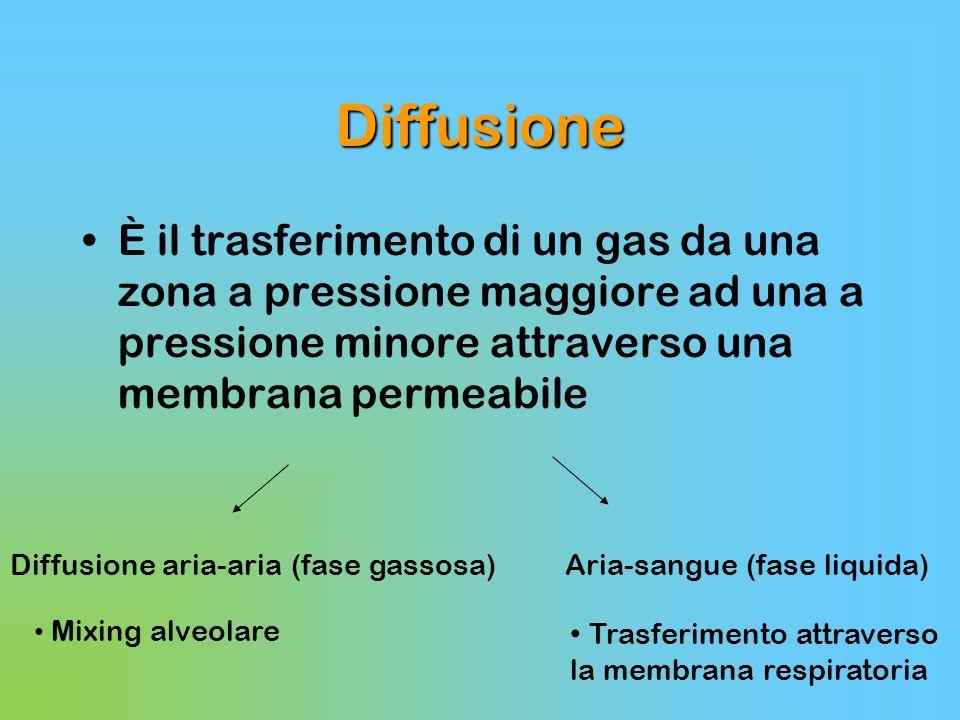 Diffusione È il trasferimento di un gas da una zona a pressione maggiore ad una a pressione minore attraverso una membrana permeabile.