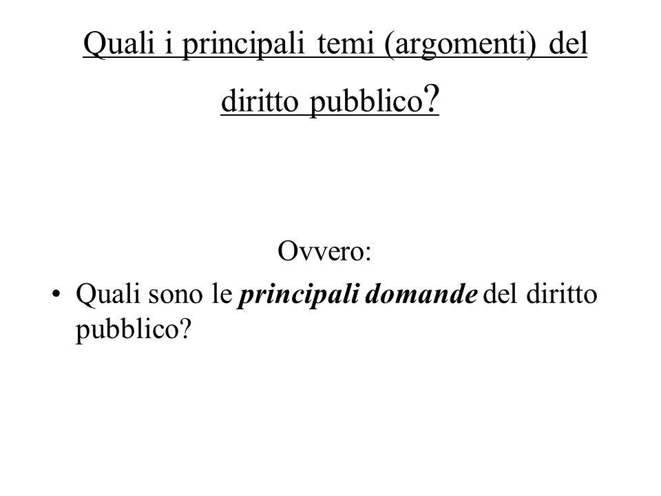 Quali i principali temi (argomenti) del diritto pubblico