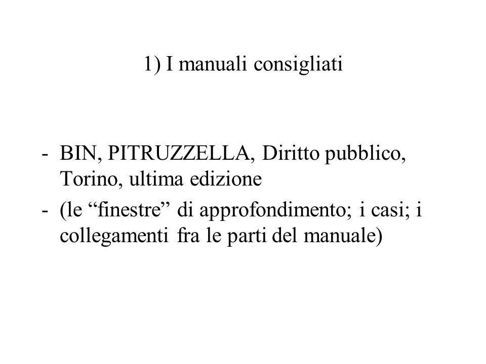 1) I manuali consigliati