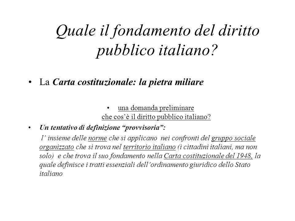 Quale il fondamento del diritto pubblico italiano