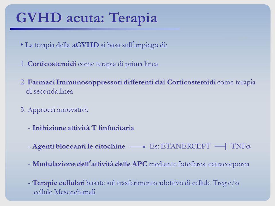 GVHD acuta: Terapia La terapia della aGVHD si basa sull'impiego di: