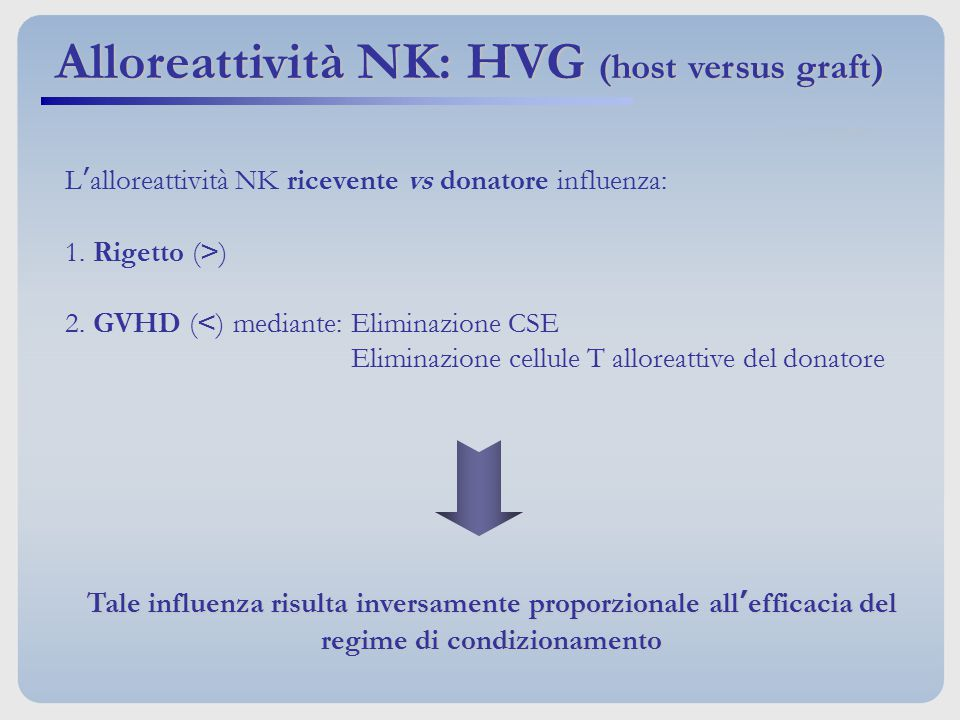 Alloreattività NK: HVG (host versus graft)