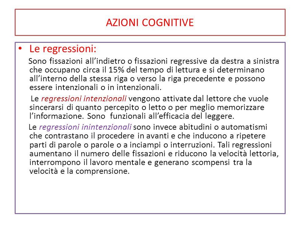AZIONI COGNITIVE Le regressioni:
