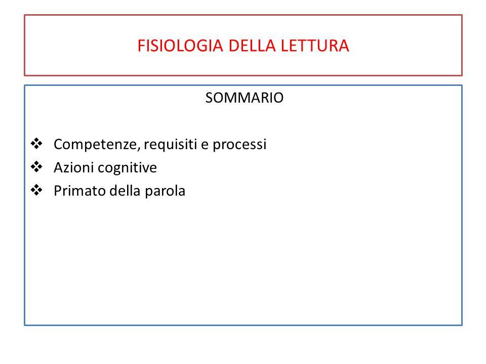 FISIOLOGIA DELLA LETTURA