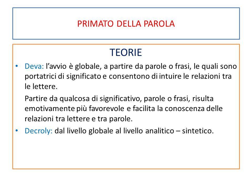 TEORIE PRIMATO DELLA PAROLA