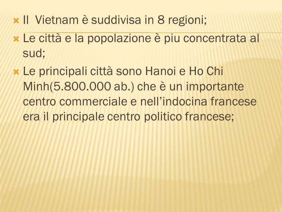 Il Vietnam è suddivisa in 8 regioni;