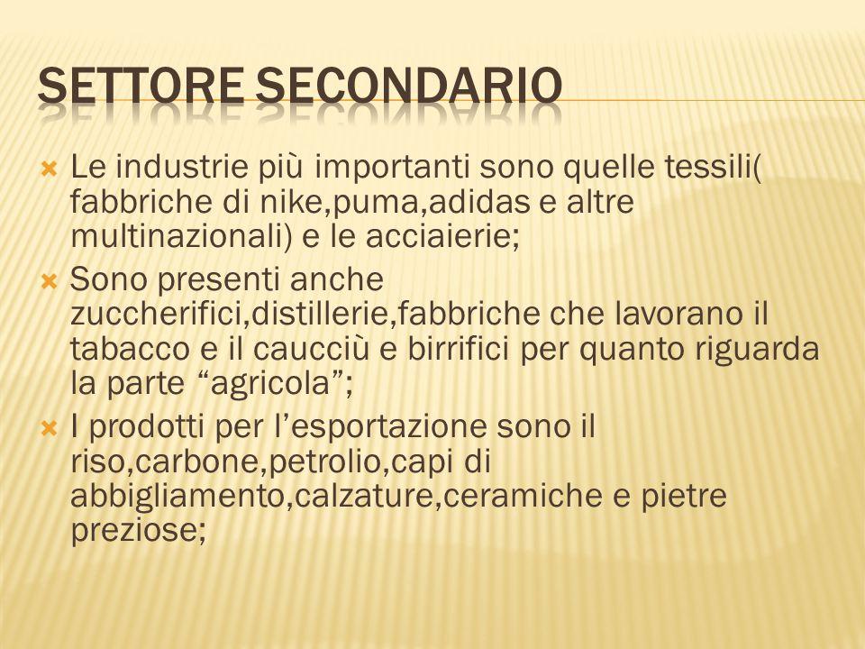 Settore secondario Le industrie più importanti sono quelle tessili( fabbriche di nike,puma,adidas e altre multinazionali) e le acciaierie;